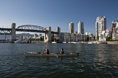 Canoeing by Burrard Bridge