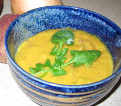 squash and sweet potato soup with watercress