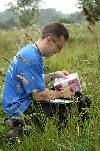 Botanist braving the brizzle drizzle