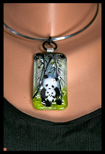 SICHUAN LULLABY fused glass panda pendant by Sandra Miller