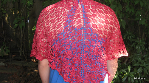Swallowtail Shawl for my great grandmothers 99th Birthday made with Handmaiden Sea Silk in Ruby Red