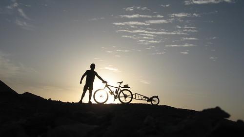 Si and Bike, Gobi Desert, China
