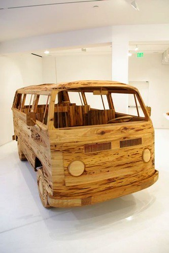 wooden vw bus