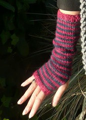 Striped Long Fingerless Gloves