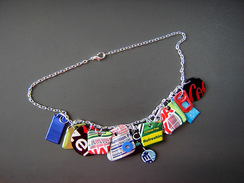 """Bing Necklace 1"" of Recycled Aluminum Cans ~ 2 of 2 photos by urbanwoodswalker."