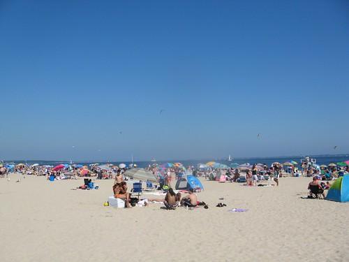 a sea of umbrellas along ocean beach