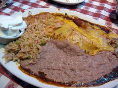 nuevo laredo cantina - a combo plate with personalized side of sour cream