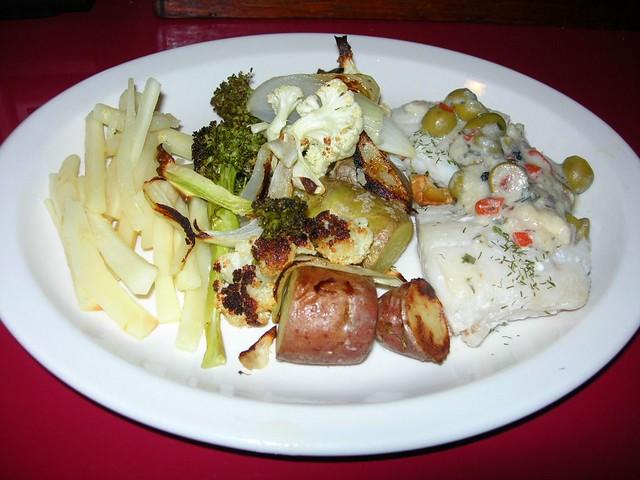 Wine-Poached Cod, LemonGinger Parsnips, Roasted Vegetables
