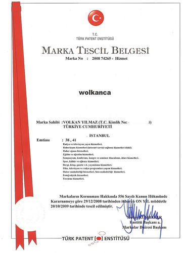 marka tescil belgesi - wolkanca