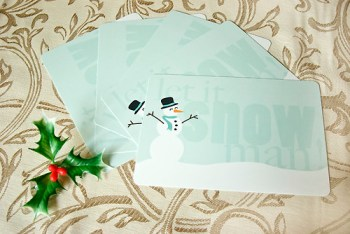 let it snow, man postcards
