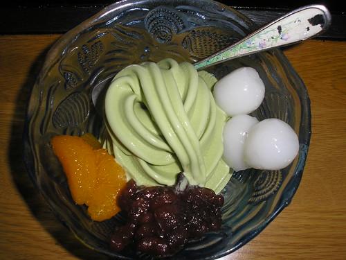 Matcha ice cream with shirotama, azuki and mikan (and cornflakes!)