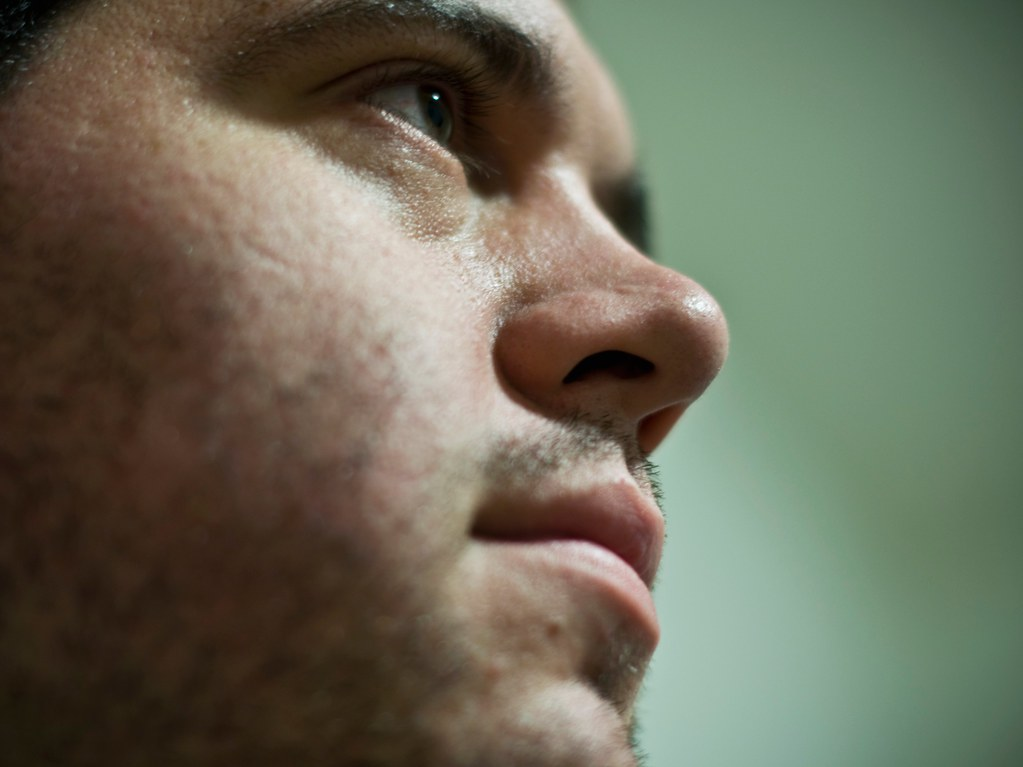 close-up of dan's face