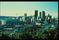 Downtown skyline with Kingdome, 1990