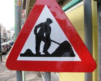 Men at work sign - Brussels