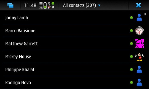 Contacts on the N900