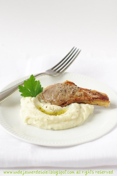 Côte agneau, purée à l'huile d'olive