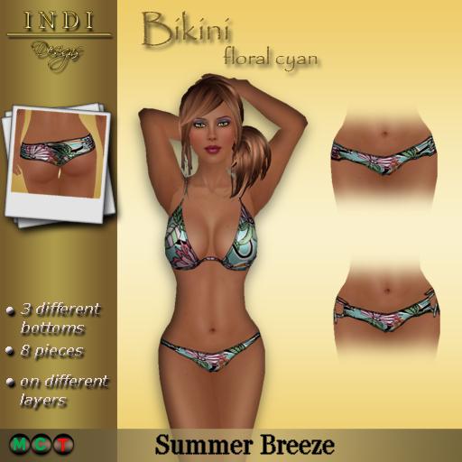 Bikini floral cyan
