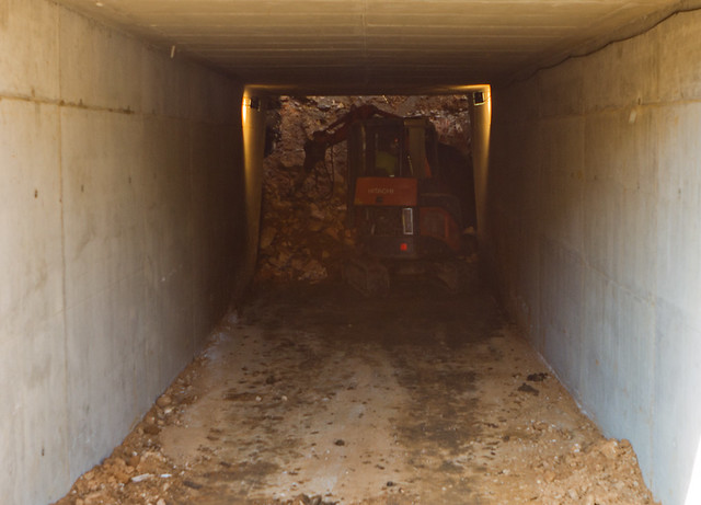 Cajón hincado en triangle ferroviari - Interior del cajón en la fase de vaciado - 10-05-11