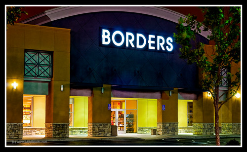 A Borders Store at Night