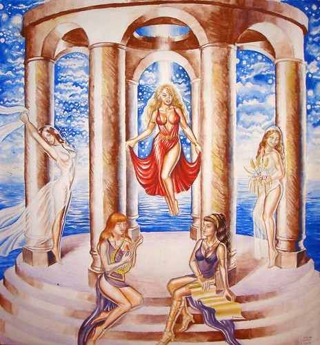 Sappho, Erinna and two of the maidens on the isle in the temple of Aphrodite, celebrating the goddess