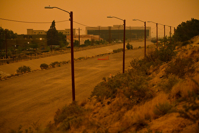 Erie sunset from the fires in Arizona, taken in Albuquerque