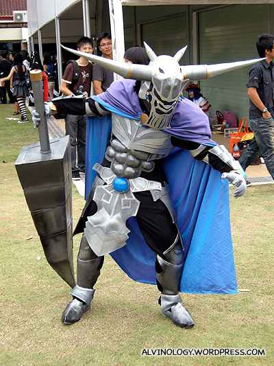 Heavily armoured character
