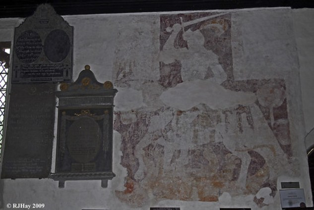 15th Century Wall Painting - St. Cadoc's Church, Llangattock-Lingoed, Wales
