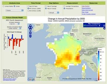 ClimateWizard : Carte de la moyenne annuelle des précipitations en France en 2050.
