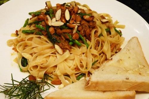 Corned Tuna Tagliatelle Pasta with Spinach, Asparagus, Almonds and Miso