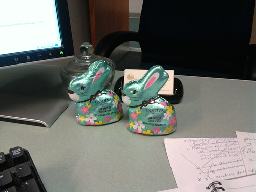 two dark chocolate godiva easter rabbits sitting on my desk at work