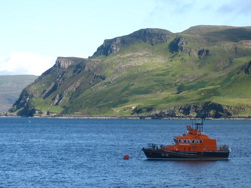 Rescue Boat Bobbing in the Harbor