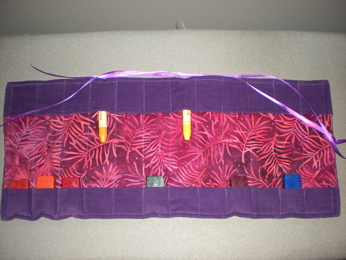finished crayon roll