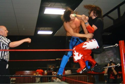 Vega takes on Brandon Aarons at the Aug. 1, 2008 NWA-CSW show in Fenton, MO. Photo by Brian Kelley