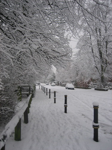 Stockport street in snow