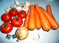 Ingredients - Carrot, Mushroom, Tomato