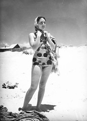 Young woman wearing a swimsuit at Southport, 1940