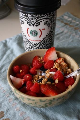 breakfast--berries, yogurt, granola, coffee