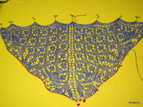 Percy Shawl WIP pinned to blocking board