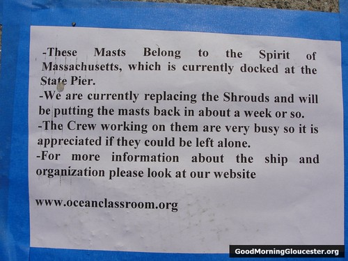 Signs Taped To The Ground All Around The Spirit Of Massachusetts Masts
