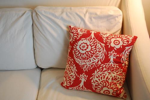 Anna Maria Horner velveteen cushion cover.