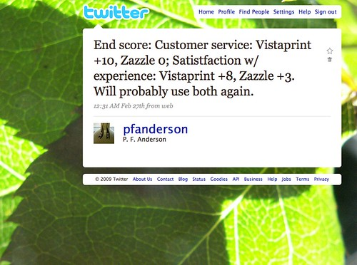 Tech - Zazzle vs Vistaprint Twitter Support Example 15