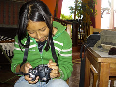 Yomida checking her photos.