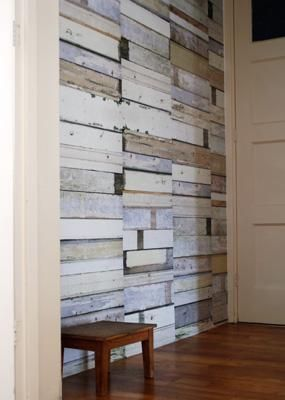 Papel pintado madera reciclada