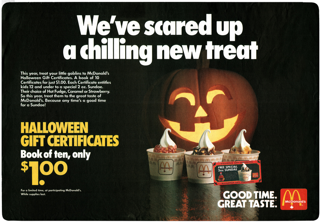 McDonald's Halloween Gift Certificates 1