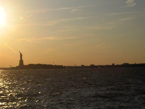 Sunset and the Statue of Liberty seen from Governors Island.