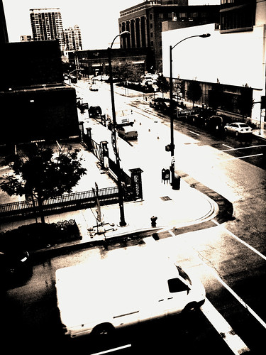Street corner in the rain