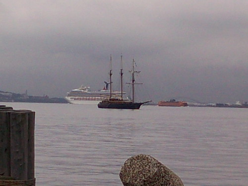 3 masted ship in NY Harbor w/cruise ship & ferry in background