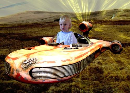 Andrew Skywalker in his Speeder