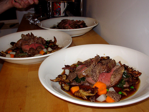 Roast fillet of beef with truffle and root vegetable infusion