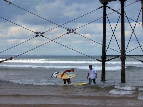 surfing under saltburn pier